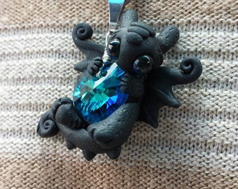 Toothless dragon Colbolt heart Swarovski crystal hand made necklace