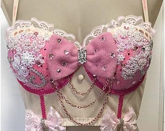 Pink Custom Jigglypuff Pokemon inspired crop corset costume