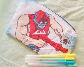 He man master of the universe vintage style upcycled zipper closure pencil or make-up bag by felice happy designs