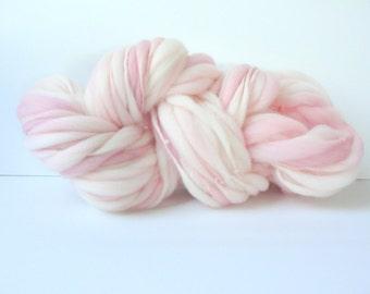 Handspun Chunky Yarn, Hand Painted  Thick and Thin Fine Merino Wool, Photo Prop, Newborn Bump Blanket, Slub Yarn Peony 50 yards