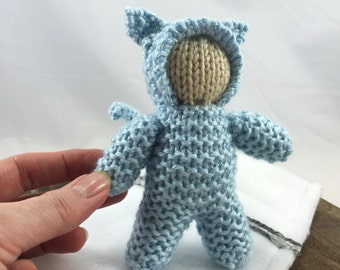 Knitted blue kitty cat doll with sleeping bag