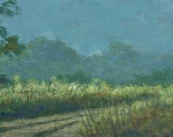 """Original Tropical Landscape Painting (Back Road Morning) - 10""""x30"""" acrylic on canvas (Free Shipping)"""