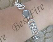 Platinum tone Adjustable bracelet tray,round blank findings,infinity bangle bezel findings