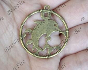12 pcs Dolphin Antique broze Tone ,Antique bronze Tone Dolphin pendant Charm,Charms Fingdings pendant,jewelry pendant findings