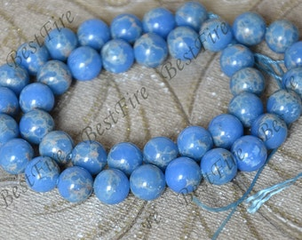 10mm of blue Round Imperial Jasper Gemstone Loose Beads,gemstone loose bead,semi-precious stone bead