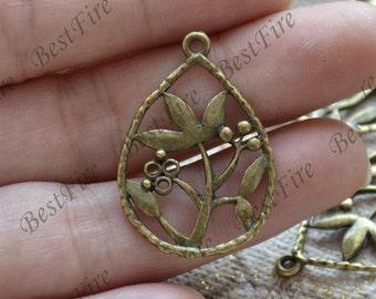 10 pcs of Antique bronze drop circle leaf Connector pendant, charm Metal Earring Components ,earring Pendant charm,Dangle Charm