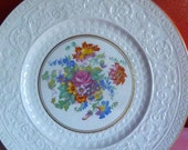 Wedgwood Plate Vintage 1955 Stunning Embossed Patrician Plain Multicoloured Flowers Gold Trim