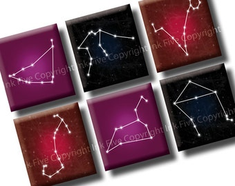 Zodiac Constellations scrabble tile images 0.75x0.83 inch squares. Three 4x6'' Collage Sheets for scrabble pendants. Digital style printable