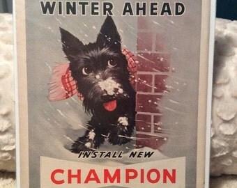 PRE SPRING SALE Vintage 1950s Scottie Champion Spark Plugs Ad Winter Snow