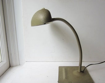ON SALE Vintage Industrial Gooseneck Desk Lamp - Gold Grey