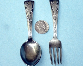 Little Boy Blue Child's Fork and Spoon Vintage ALVIN Flatware