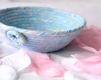 Blue Serenity Basket, Handmade Pastel Blue Basket, Key Holder bowl, L1, Baby Blue Bowl, Cute Desk Accessory Basket, Paperclip Holder