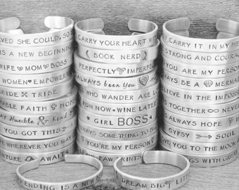 Bracelet PERSONALIZE THIS CUSTOM Cuff Aluminum Personalized For You Names Dates Anniversary Achievements Birthday Gift Sturdy 12g aluminum