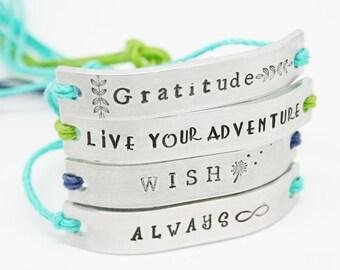 SET of 13 Bracelets Custom Hand Stamped Friendship BFF Name Tie On Hemp Cord BULK Lot Parties Sorority Gifts Teens Birthday