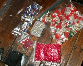 Vintage Lot Assortment Beads Bobbles Gems Destash For Crafts Christmas Ornaments 1970's Retro Supply