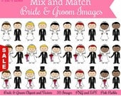 Sale! Mix and Match Bride and Groom Clipart Clip Art, Wedding Clipart Clip Art Vectors - Commercial and Personal Use