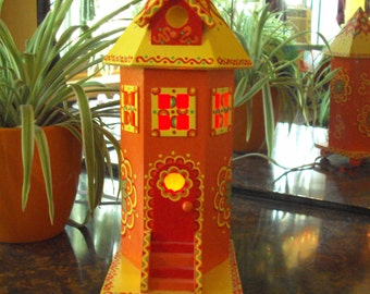 Birdhouse Night Light/ Handpainted/ Lighthouse Birdhouse/ Original Designs/Orange/Yellow/ Red/ Floral Shapes/ Doodles and Dots/Lite Included