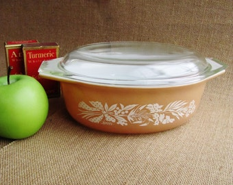 Pyrex Promotional Spices Cinderella Oval Casserole 043 943 Series 1970s 1.5 Liter Corning Thanksgiving Fall Autumn Potluck Christmas Gift
