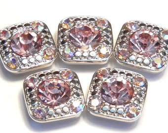 Five 2 Hole Slider Beads 2 Hole Spacer Beads Silver Tone 7mm Lt. Rose Pink & 2mm Lt. Rose AB Rhinestones Square Rhinestone Studded Beads