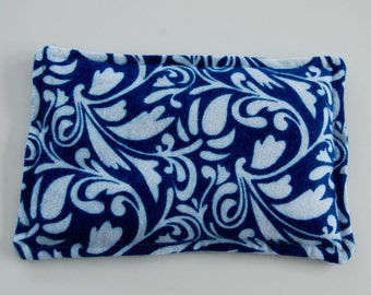 Rice Heating Pad / Ice Pack, 5 X 8 Blue Swirl Floral