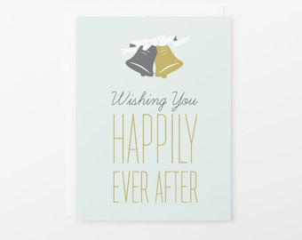 Wedding Card | Happily Ever After Congratulations Greeting Card | Wedding Bells