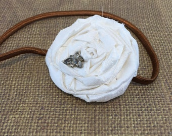 Adult White Headband, White and Brown Rosette Photo Prop Headband, Vintage Jewels
