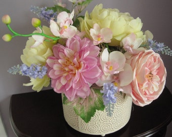 Spring Floral Arrangement, Pastel Silk Flowers, Gift Arrangement, Real Touch Silk Flowers, Footed Container, Wreaths