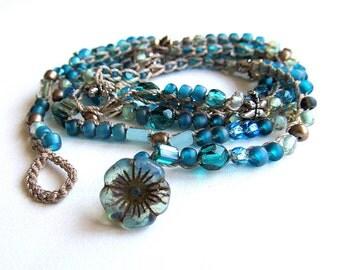 "Beaded crochet wrap bracelet / necklace, ""starlight"", teal, crochet jewelry, boho wedding, bohemian jewelry, beach jewelry, coffycrochet"