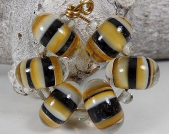 MTO: Set Inside Color Striped Beads Black Brown, handmade artisan glass beads, jewelry supplies