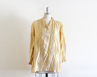 70's Cotton and Metallic Hippie Tunic / Made in Pakistan / Hippie Boho