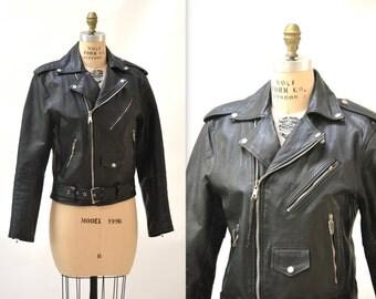 Vintage Black Leather Motorcycle Jacket SIze Mens Medium Women Large// Vintage Black Leather Biker Jacket Size Medium Large