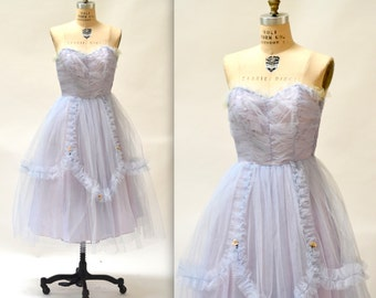 1950s Vintage Prom Dress// Crinoline 50s Party Dress in Blue, Size XXS XS Small// 50s Vintage Bridesmaid Dress in Blue XS Small
