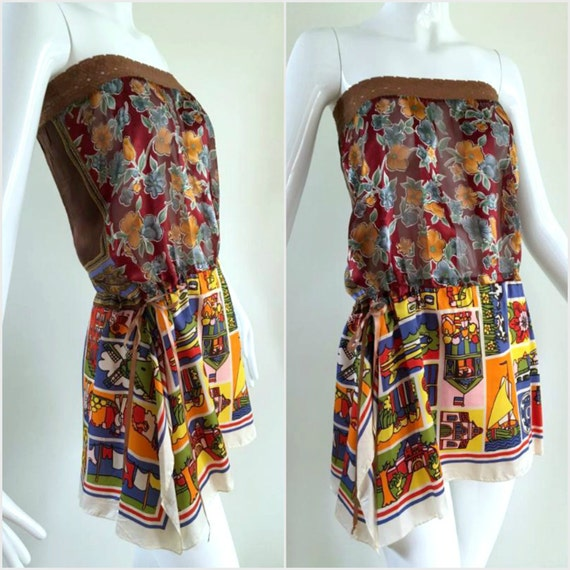 ViNtAgE Upcycled Scarf Top 60's Off Should Sheer shirt Hippie Gypsy 70's Festival Coverup Boho Tube 90's Grunge OOAK  50's Dutch Tourist
