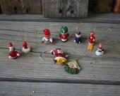 SUPER SALE - Set of Nine Vintage Wooden Christmas Ornaments