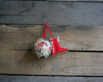 Mismatched Christmas Ornaments - Decoupaged Ornament - Ice Skate Ornament