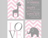 Baby girl Nursery decor, Elephant Nursery art, You are my sunshine, Chevron Nursery Elephant decor, Nursery Art Pink Grey Gray 8x10 prints