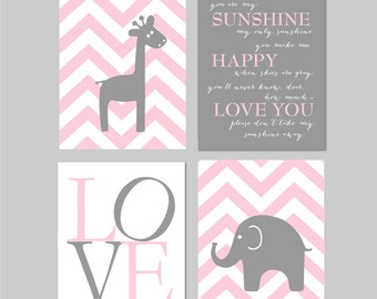 Baby girl Nursery decor, Elephant Nursery art, You are my sunshine, Chevron Nursery Elephant decor, Nursery Art Pink Grey Gray 8x10 prints