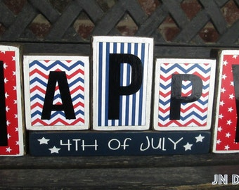 4th of July blocks- Happy 4th of July