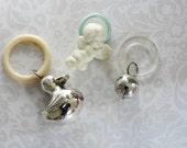 3 Vintage Key Rings Lucite Sterling Silver Celluloid   /  Vintage Sterling Baby Rattles  /  Silver Teething Rings  /  Nursery  New Mom Gift