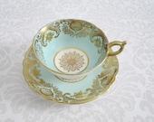 Aqua Paragon Teacup and Saucer Set /  Vintage Tea Cup and Saucer Set Pastel Blue & Gold  /  Antique Blue Paragon Teacup Set SwirlingOrange11