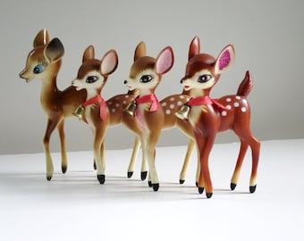 Vintage Plastic Deer Reindeer Figurines, Kitsch 50s Plastic Bambi Fawn Deer,  Kitsch Deer, Hong Kong Plastic Reindeer, Blue Eyed Reindeer