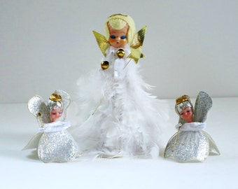 Vintage White Feathered Angel, Kitsch 50s White and Silver Holiday Christmas Angels, Feathered Angel Tulle Angels, Angel Trio Ornaments
