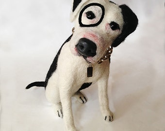 Needle felted Petey the Pitbull (Little Rascals)
