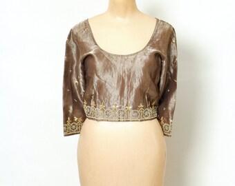 Crop Top Vintage Indian / boho top/ Indian  / Hippie / Tunic / Bohemian / sari blouse / saree top / Embroidered /indian blouse