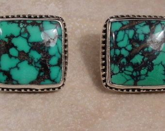 Spiderweb Turquoise and Sterling Silver Post Earrings
