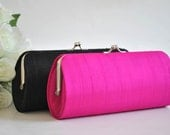 Shocking Pink SILK Clutch - SMALL Wedding clutch- PETITE cocktail clutch