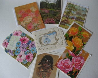 Random lot vintage kitsch note cards get well blank wedding shower roses floral
