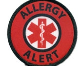 ALLERGY ALERT Red Medical Alert Black Rim Sew-on Patch  (Choose Size)