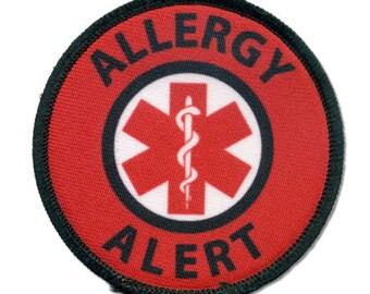 Allergy Alert Red Medical Alert Black Rim HOOK VELCRO Patch  (Choose Size)