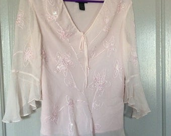 Silk chiffon blouse longslv/beads embroidery and sequins medium sheer overlay with lining